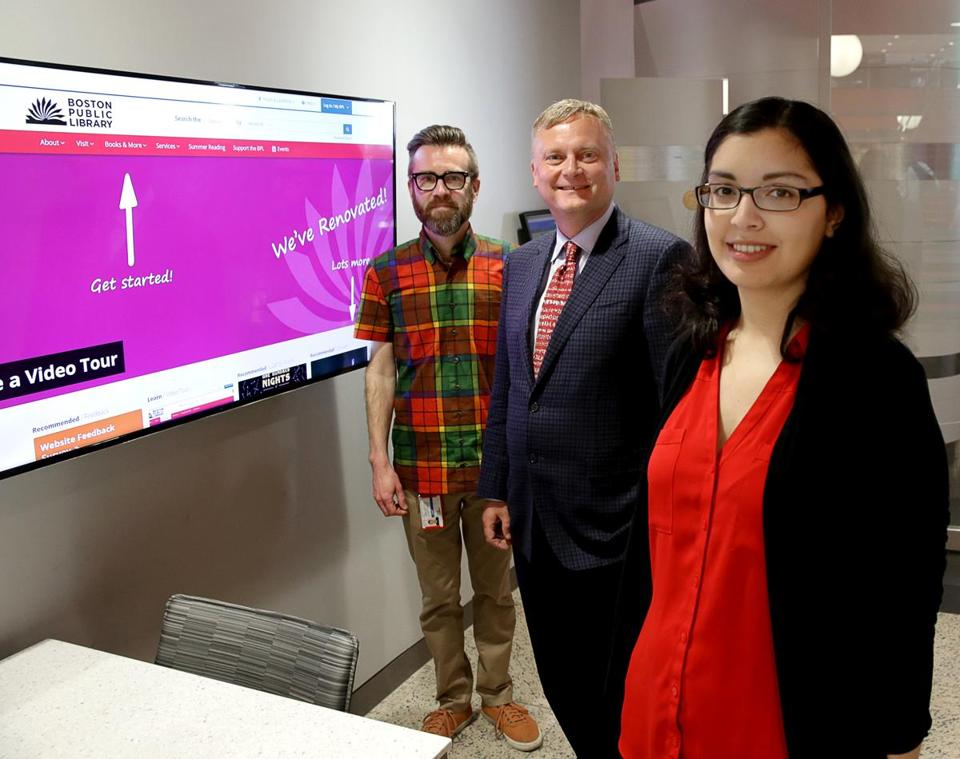Boston Public Library has a new website. From left to right, Scot Colford, online and web services manager; David Leonard, president of the Boston Public Library; and Dhruti Bhagat, web services librarian.