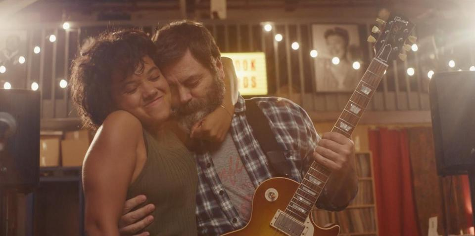 "Kiersey Clemons and Nick Offerman in ""Hearts Beat Loud."""