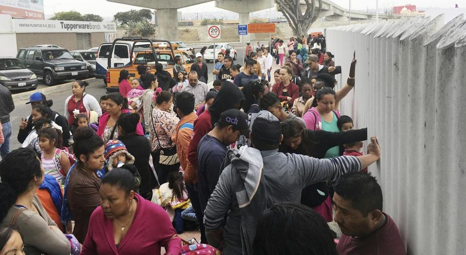 People seeking political asylum in the United States lined up to be interviewed in Tijuana, Mexico, on June 4.