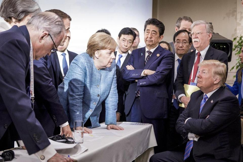 Angela Merkel spoke with President Trump during last week's Group of Seven summit.