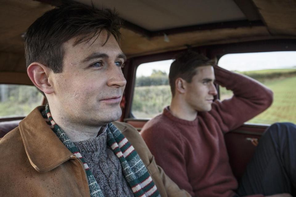 "James McArdle (left) and Oliver Jackson-Cohen in ""Man in an Orange Shirt."""
