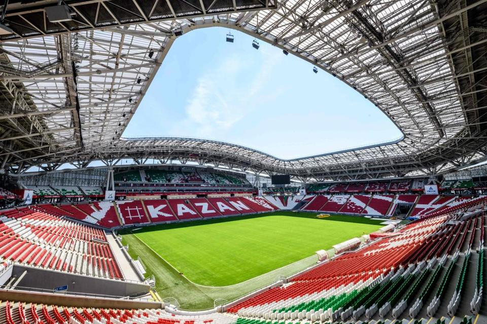 Above: The 45,000-seat Kazan Arena in Kazan, Russia, which hosted six matches during the 2018 World Cup. A complex of sports arenas in the city is attracting a stream of world-class athletic events.