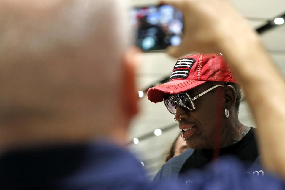 Former NBA player Dennis Rodman arrived at Singapore's airport on Tuesday.