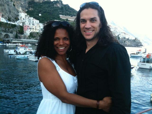 Audra McDonald with her husband, Will Swenson, on the Amalfi Coast.