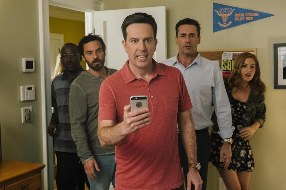"From left: Hannibal Buress, Jake Johnson, Ed Helms, Jon Hamm, and Isla Fisher in the comedy ""Tag."""