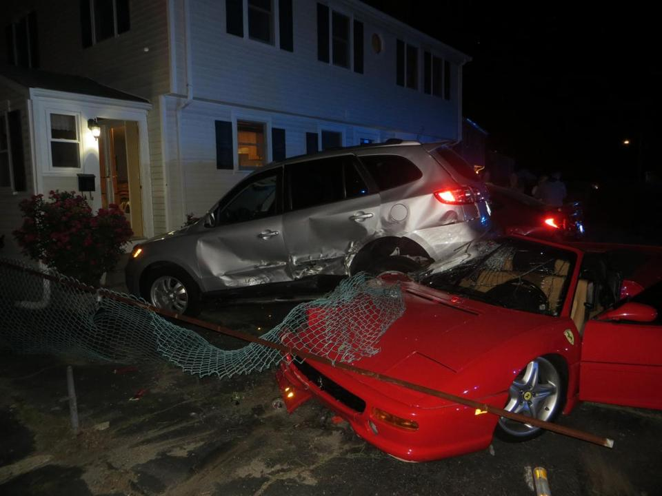 A 50-year-old man crashed his brother's Ferrari into this parked vehicle Tuesday night.