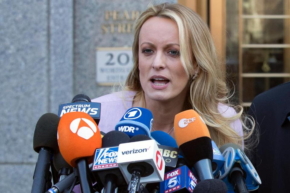 Stormy Daniels spoke outside federal court in New York in April.