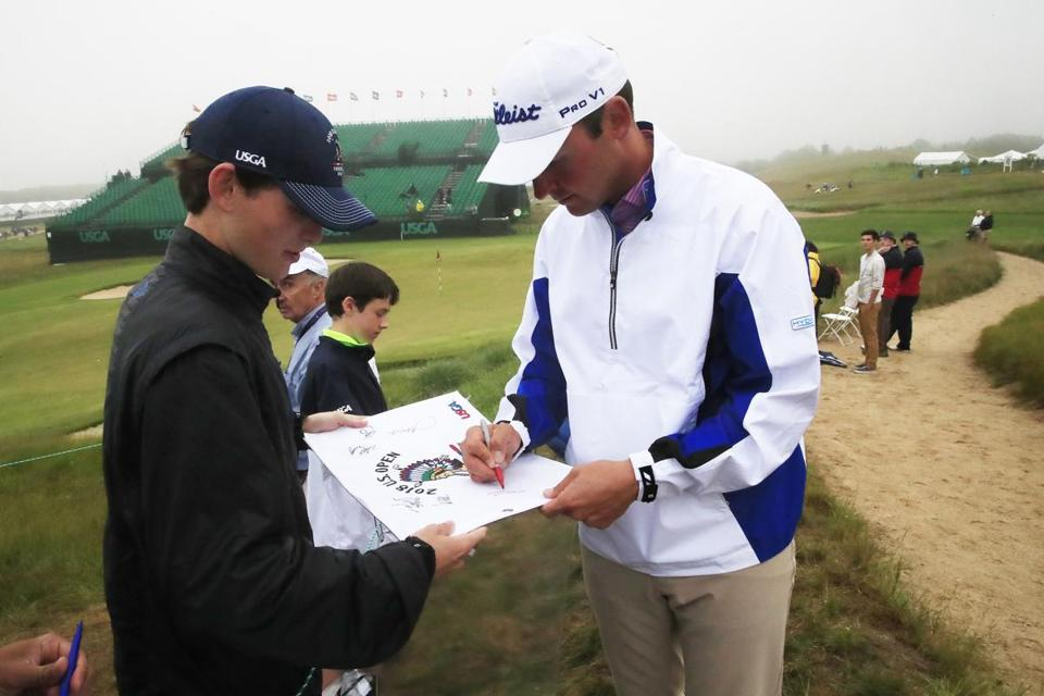 Mandatory Credit: Photo by TANNEN MAURY/EPA-EFE/REX/Shutterstock (9715145ao) Matt Parziale 118th US Open Championship, Southampton, USA - 13 Jun 2018 Matt Parziale of the US signs an autograph on the eighteenth hole during the final practice round at the 118th US Open Championship at Shinnecock Hills Golf Club in Southampton, New York, USA, 13 June 2018. The tournament will be played 14 June thorough 17 June.