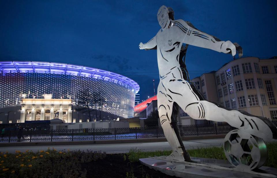 A statue in front of the Central Stadium in Ekaterinburg, Russia.