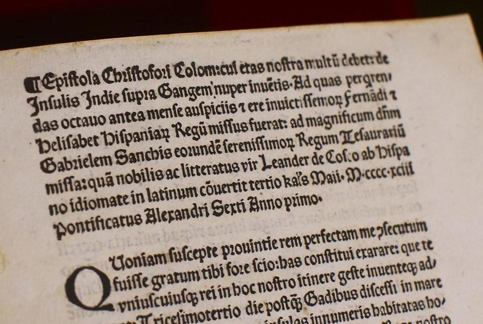 Detail of a page of the 15th Century copy of a letter written by Christopher Columbus.