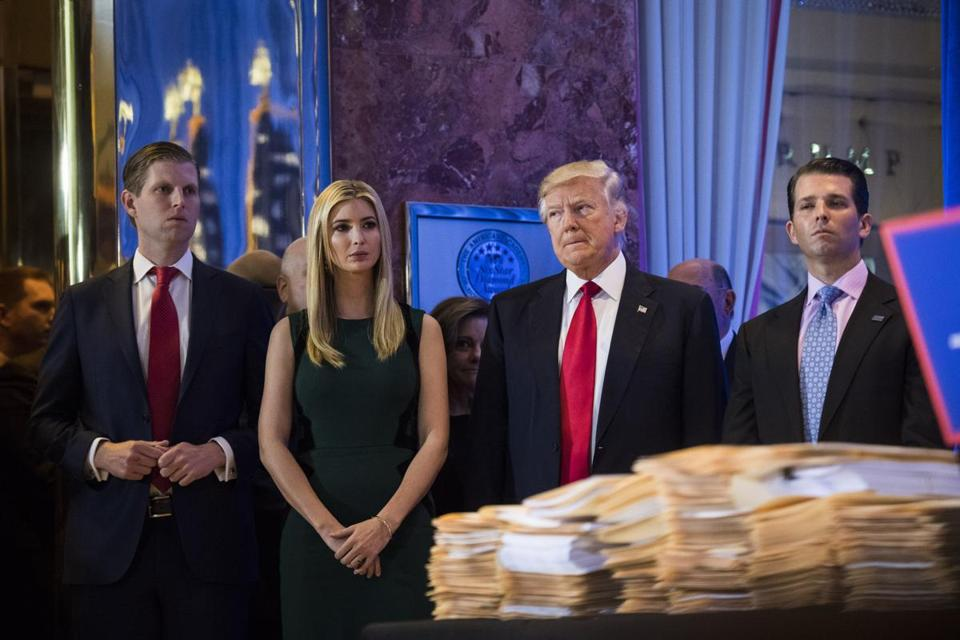 President Donald Trump, Eric Trump (left), Ivanka Trump and Donald Trump Jr.