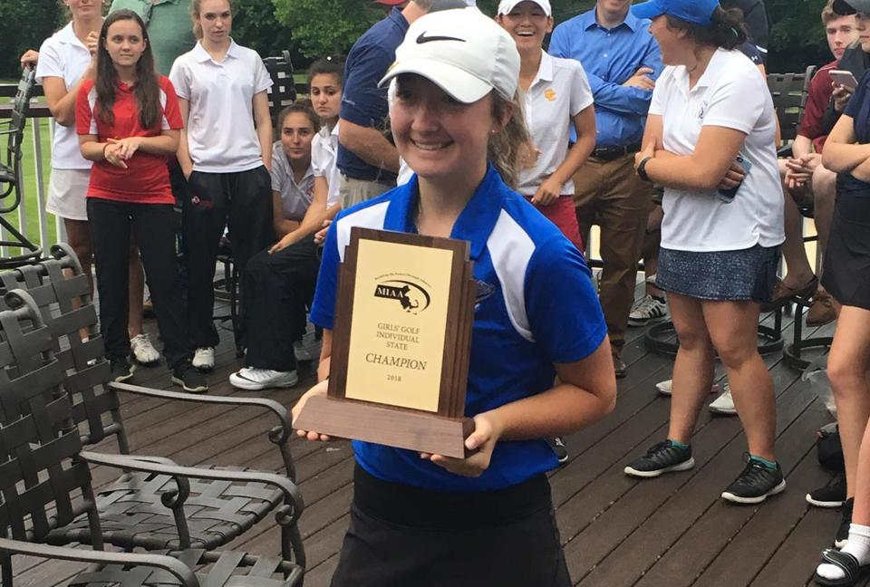 Emily Nash shot 75 to win the state golf championship.