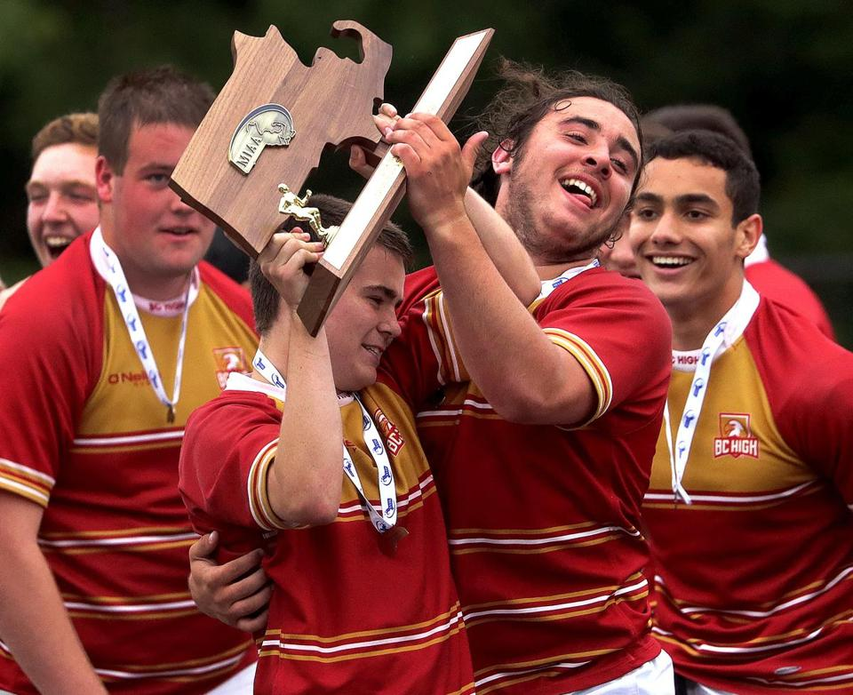 Newton, MA - 6/23/2018 - BC High celebrates their state championship win over Belmont in the boys D1 MIAA rugby final at Newton South HS. - (Barry Chin/Globe Staff), Section: Sports, Reporter: David Souza, Topic: 24schrugby, LOID: 8.4.2338864377.