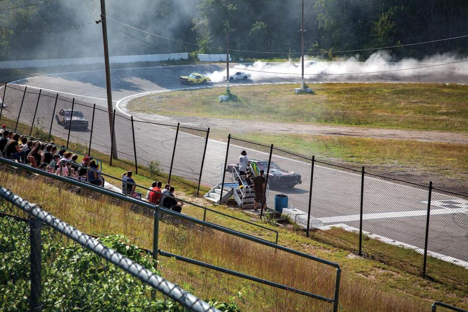 On most summer Sundays, the deafening roar of car engines upends the country quiet at the Hudson Speedway in New Hampshire.