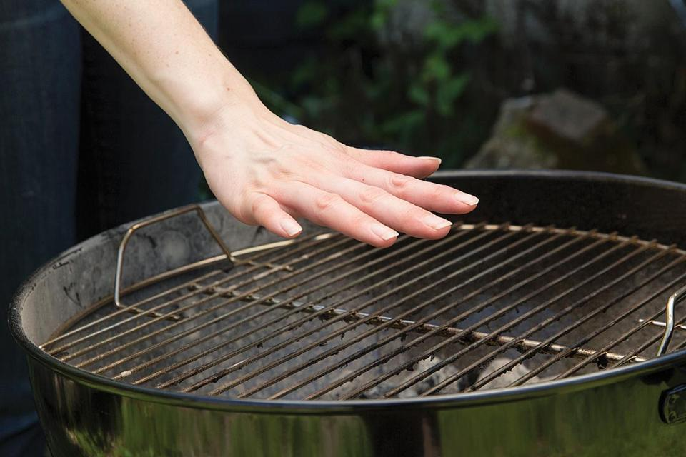 Don't touch the grill to test the temperature. Instead, hold your hand about 5 inches above the grill great to detect the heat.