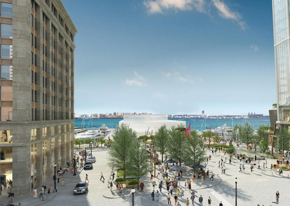 "An image of a new plaza, dubbed the ""Blueway,"" that could be built at the base of a skyscraper Chiofaro Co. is proposing on the site of the Harbor Garage. A sliver of the tower is visible at top right."
