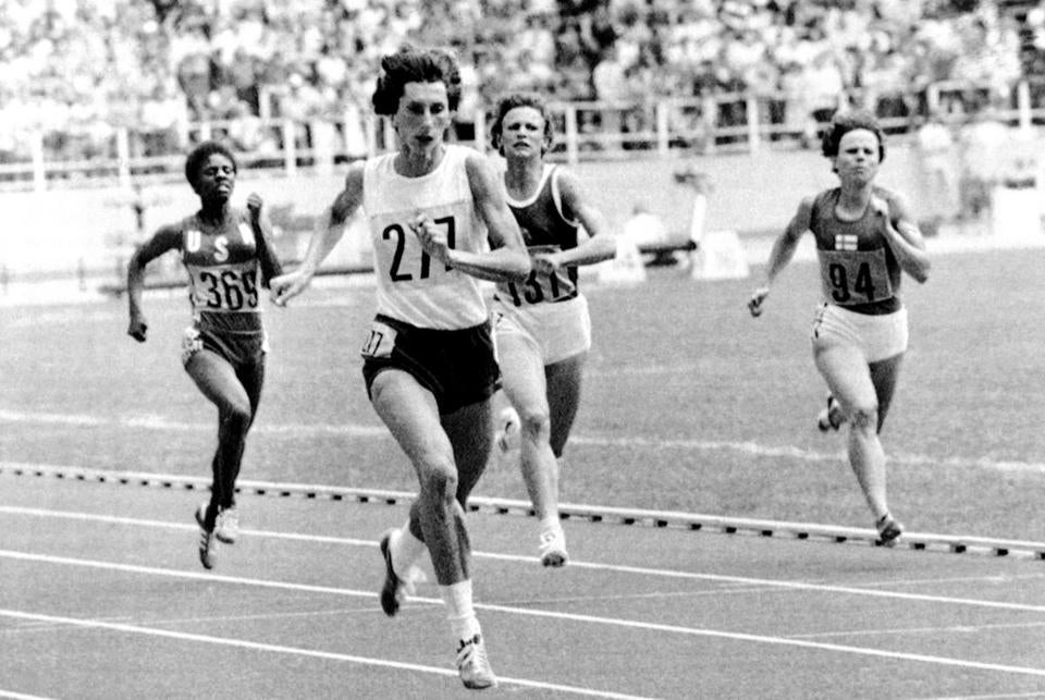 Irena Szewinska (center) sprinted to gold in record time in the women's 400-meter race at the 1976 Olympics in Montreal.