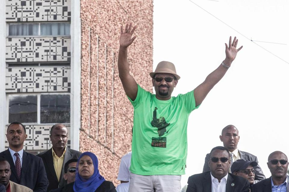 Ethiopia Prime Minister Abiy Ahmed waves to the crowd during a rally on Meskel Square in Addis Ababa on June 23, 2018. A blast at a rally in Ethiopia's capital today in support of new Prime Minister Abiy Ahmed killed several people, state media quoted the premier as saying. / AFP PHOTO / YONAS TADESEYONAS TADESE/AFP/Getty Images