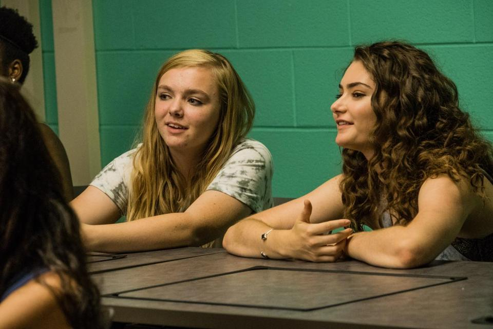"Elsie Fisher and Emily Robinson in the 2018 film ""Eighth Grade,"" directed by Bo Burnham. Photo by Linda Kallerus, courtesy of A24"
