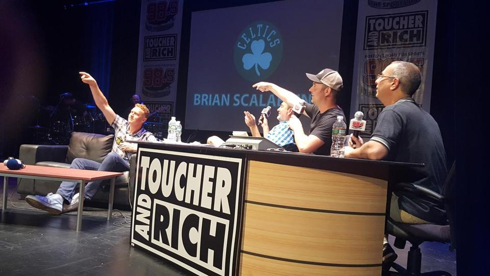 "18names - The ""Toucher and Rich"" morning show on 98.5 The Sports Hub celebrated its 10th anniversary? at the Wilbur Theatre? on Tuesday night. ?Pictured here is former Boston Celtics player Brian Scalabrine ?and seated at the desk from? left to right,? radio hosts? Fred Toucher, Rich Shertenlieb, and John Wallach of the ÒToucher and RichÕÕ? show.? (Cha-Chi Loprete)"