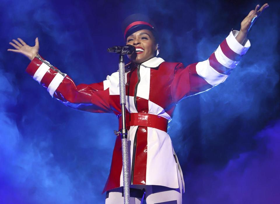 Janelle Monáe (pictured July 18 in New York) plays Blue Hills Bank Pavilion Saturday.