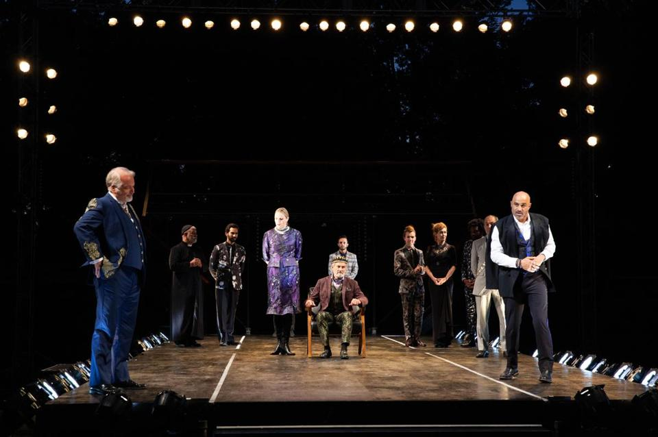 "Faran Tahir (right) stars in the title role of Commonwealth Shakespeare Company's production of ""Richard III"" on the Boston Common."