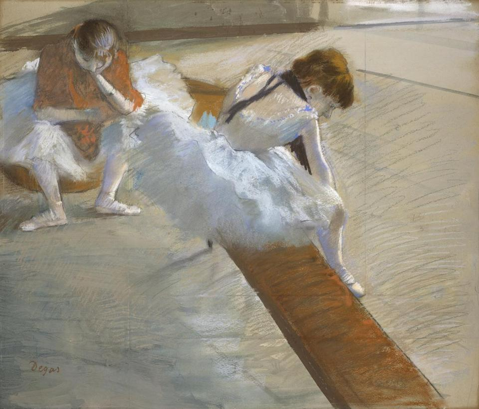 Dancers Resting Edgar Degas (French, 1834–1917) 1881–85 Pastel on paper mounted on cardboard * Juliana Cheney Edwards Collection * Photograph © Museum of Fine Arts, Boston 05mfa French Pastels: Treasures from the Vault June 30, 2018 - January 6, 2019.