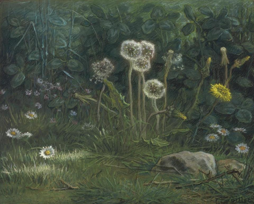 "Jean-François Millet's ""Dandelions"" is among 38 objects on view in the MFA exhibition ""French Pastels."""
