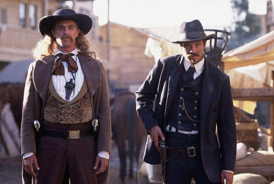 "Keith Carradine (left) and Timothy  Olyphant in the HBO series ""Deadwood."""