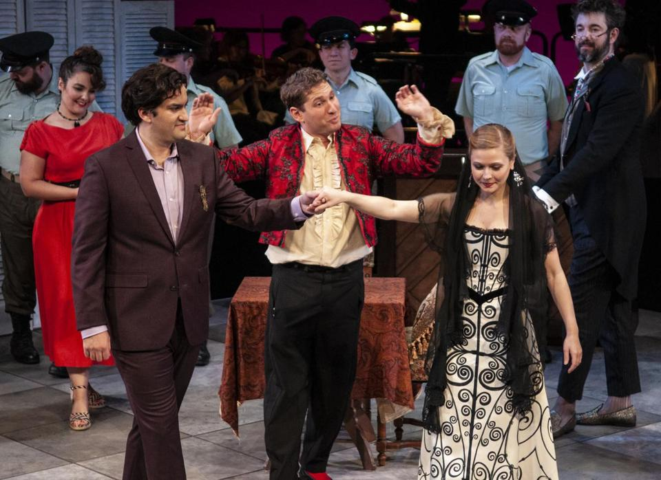"From left: Theo Lebow as Count Almaviva, Robert Balonek as Figaro, and Alisa Jordheim as Rosina in Boston Midsummer Opera's ""The Barber of Seville."""