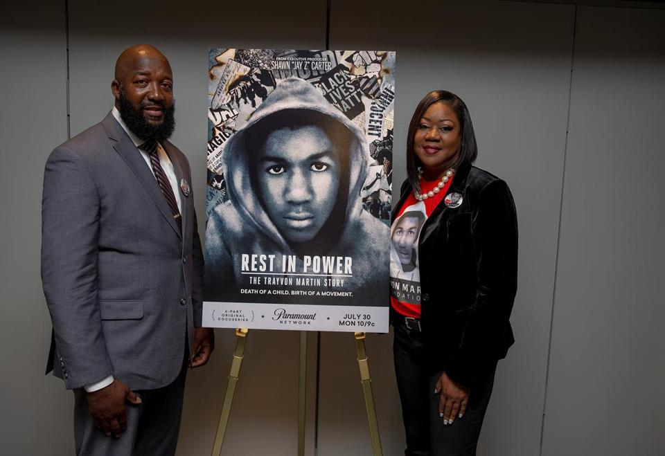 WASHINGTON, DC - MAY 16: (L-R) Tracy Martin and Sybrina Fulton attend the Trayvon Martin: Rest In Power screning on May 16, 2018 in Washington, DC. (Photo by Tasos Katopodis/Getty Images)
