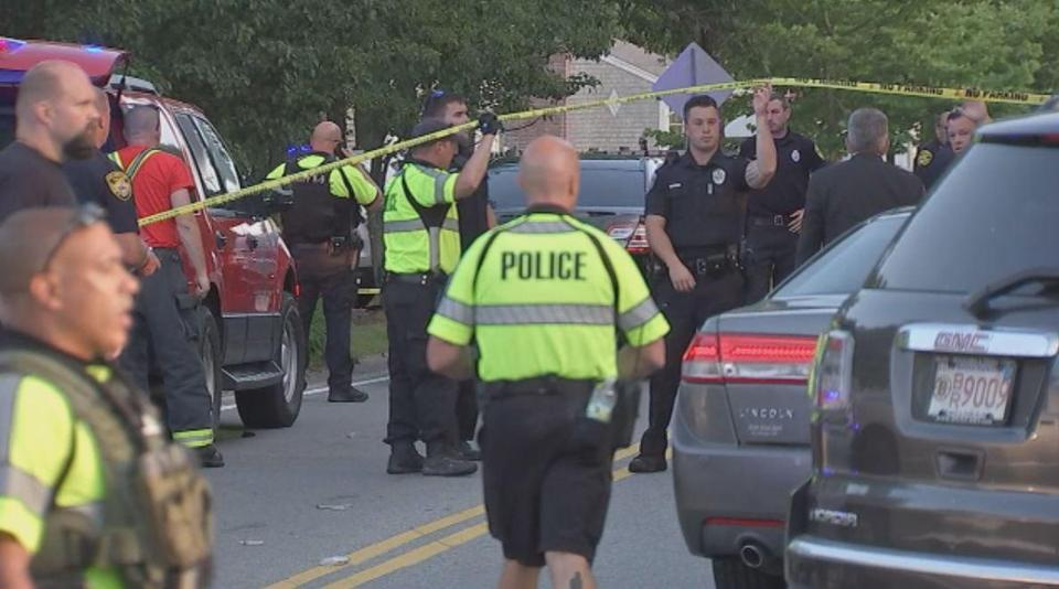 Scene in Falmouth where two police officers were shot Friday July 27. Courtesy : Boston 25 News