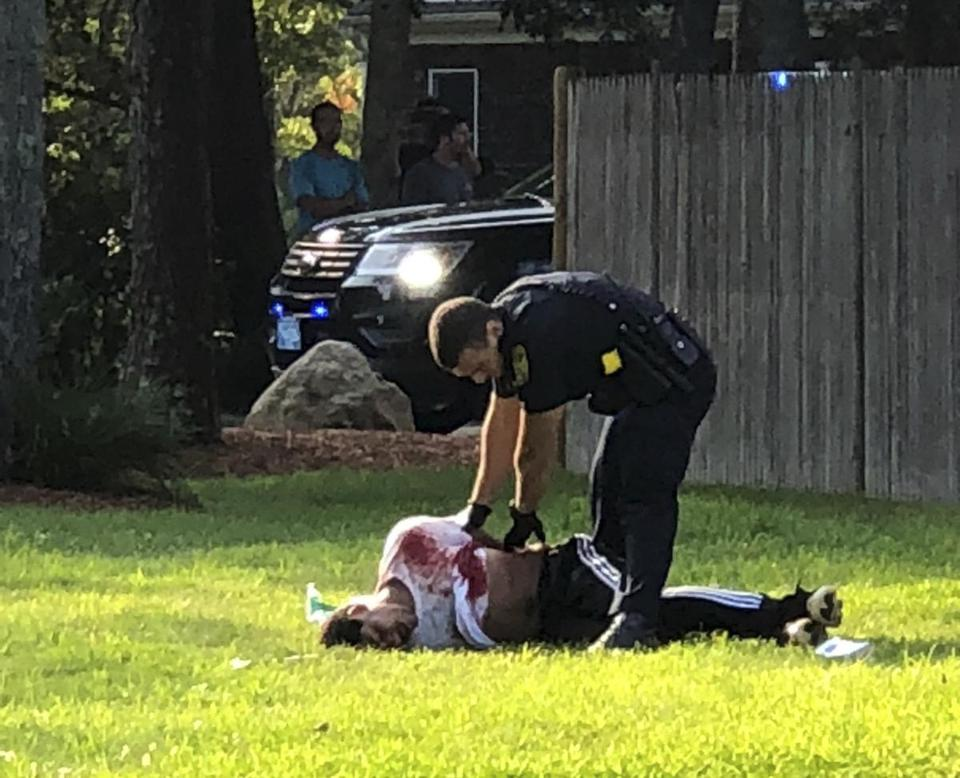 **PLEASE - DO NOT POST THIS ANYWHERE ON SITE UNTIL AFTER 11:00:00 PM** (july 27) JULY 27,2018, Falmouth, MA- A suspect is arrested after two Falmouth Police officers were shot. please credit this way ; FROM BOSTON 25 NEWS