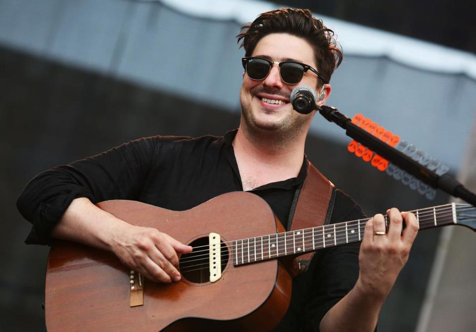 Marcus Mumford of Mumford & Sons performing Saturday at the Newport Folk Festival.