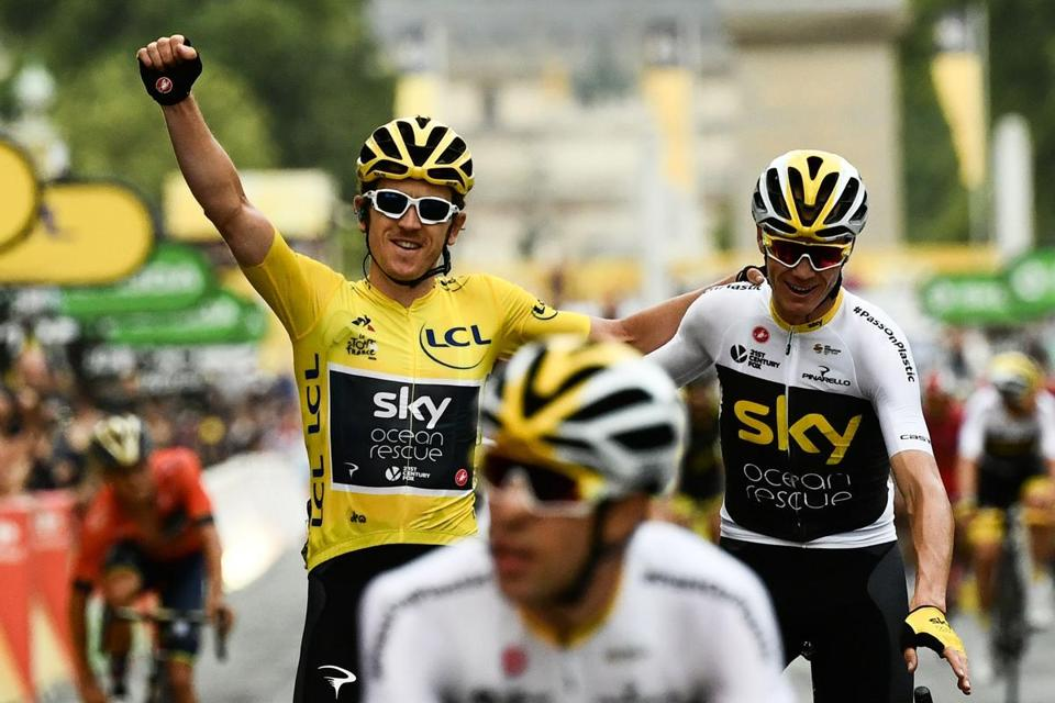 Thomas enjoys the champagne feeling of being a Tour de France victor