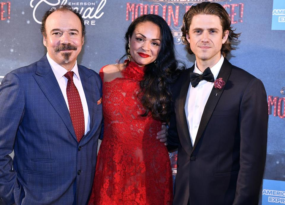 BOSTON, 7/29/2018 - From Left, Danny Burstein, Karen Olivo, and Aaron Tveit at the MFA following a Gala performance of Moulin Rouge celebrating the reopening of the Emerson Colonial Theatre Josh Reynolds for The Boston Globe (Lifestyle, fNames Kilgannon)