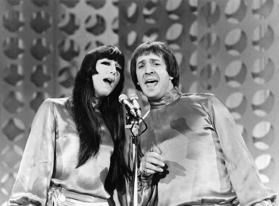 "Entertainers Sonny, right, and Cher sing during taping of ""The Danny Thomas Special"" in Los Angeles, Ca., on Jan. 21, 1966. (AP Photo)"