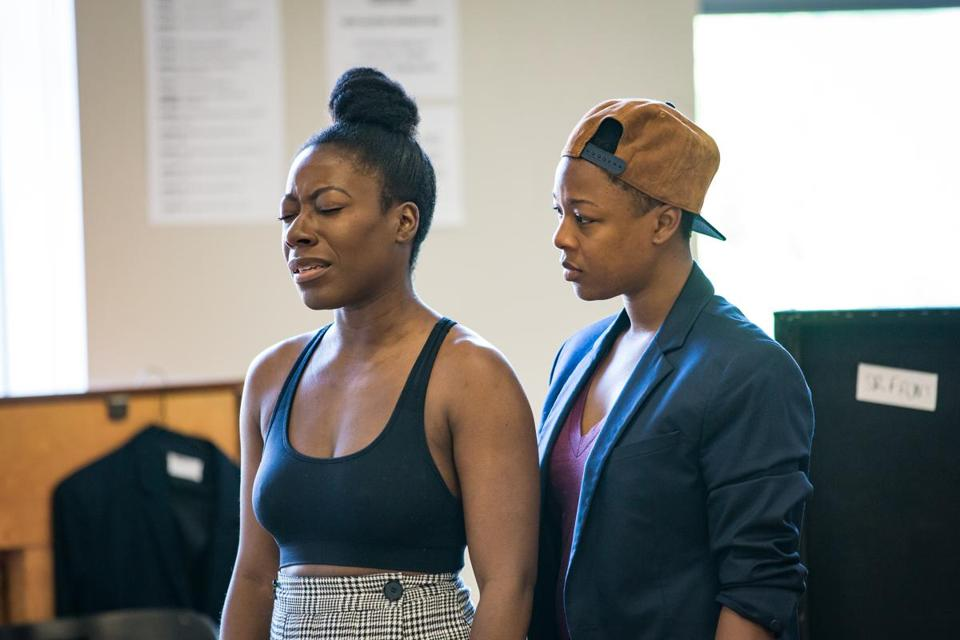 "Alfie Fuller (far left) and Samira Wiley at a rehearsal for ""Dangerous House."""