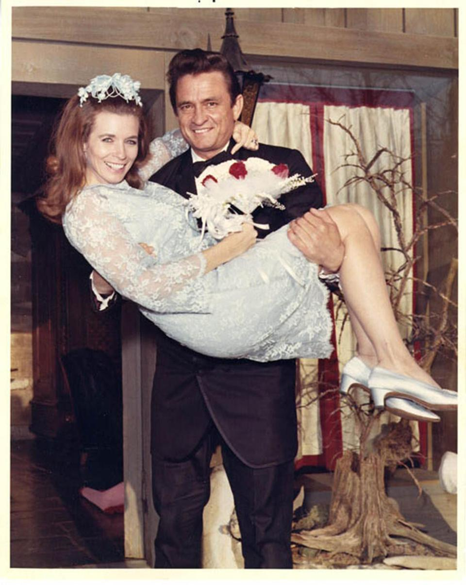 "Johnny Cash and June Carter Cash, as seen on the CMT program ""Johnny Cash: American Rebel."""