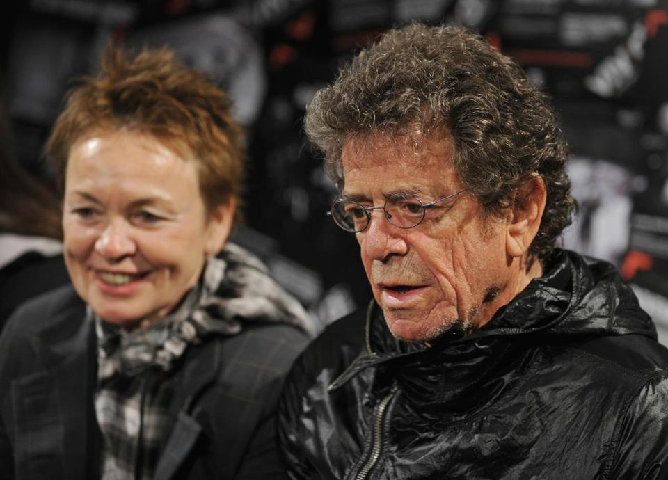Legendary musician Lou Reed (R) and his artist wife Laurie Anderson (L) hold a media conference at the Sydney Opera House on May 28, 2010. The New York based couple are the curators of Vivid LIVE, part of the Vivid Sydney Festival of light, music and ideas that runs until June 20. AFP PHOTO / Greg WOOD (Photo credit should read GREG WOOD/AFP/Getty Images) 05PowerCouples