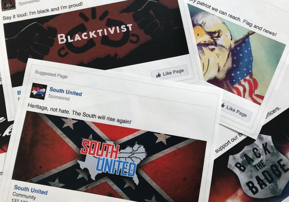 Facebook ads linked to a Russian effort to disrupt the American political process were released by members of the US House Intelligence committee in 2017.