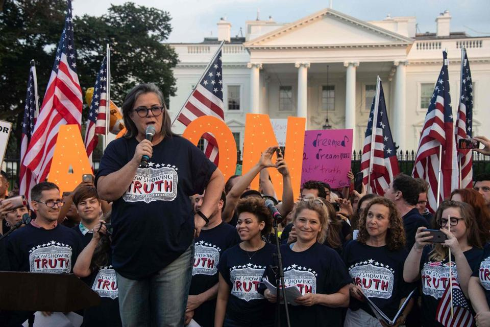 Actress Rosie O'Donnell spoke Monday at a protest in front of the White House.