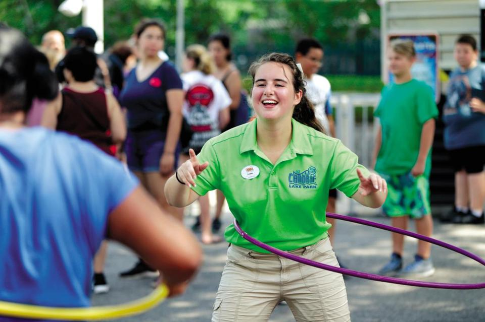 08/08/2018 Salem NH - Samantha Chiodi (cq) get to use hula hoop at her Summer job at Canobie Lake Park. She is part of the Fun Squad at the park. Jonathan Wiggs/Globe Staff Reporter:Topic: