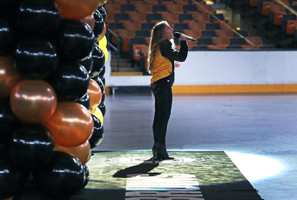 Boston, MA: 8-8-18: The Boston Bruins held tryouts for potential replacements for retired national anthem singer Rene Rancourt at the TD Garden. Shanna Jackman is pictured as she performs. (Jim Davis/Globe Staff)