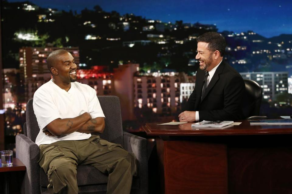 "Kanye West on ""Jimmy Kimmel Live!"" on Thursday."
