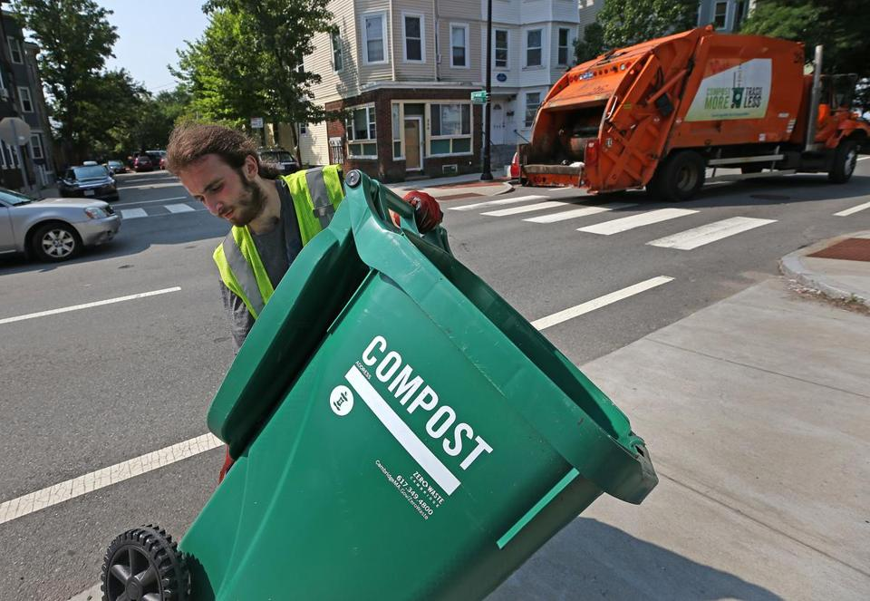 Jacob Rezendes, a trash collector in Cambridge, moved a compost bin.