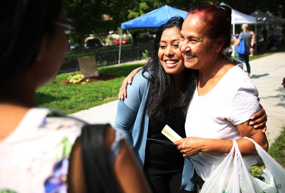 LOWELL, MA - 08/17/2018 State Representative Juana Matias speaks to potential voters at the Lowell Farmer's Market. State Representative Matias is a candidate for Congress in Massachusetts' Third Congressional District. Erin Clark for The Boston Globe