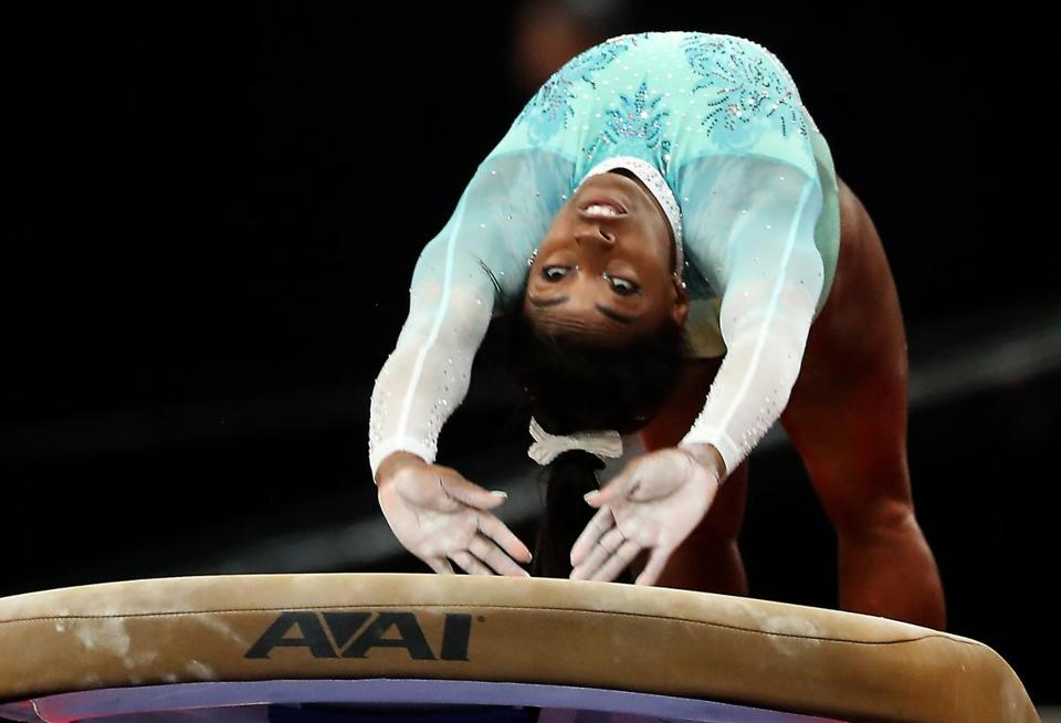 Boston MA 8/19/18 Simone Biles during her vault attempt at the US senior women's final round of competition at the US Gymnastics Championships at TD Garden. (photo by Matthew J. Lee/Globe staff) topic: reporter: