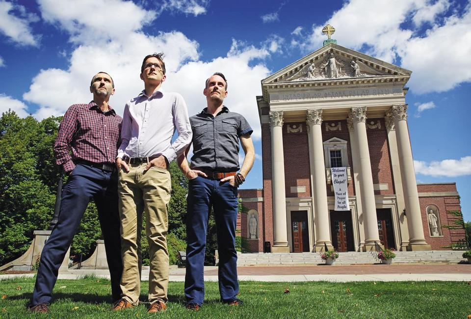 Brett Maguire (left), Jake Street, and Sean Redrow, seen at Holy Cross's Saint Joseph Memorial Chapel, were among five former students to accuse James David Christie.