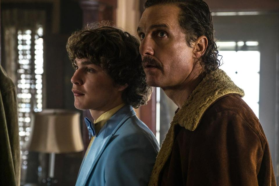 "Matthew McConaughey plays a Detroit gun dealer and Richie Merritt portrays his son, the youngest informant in FBI history, in ""White Boy Rick."""
